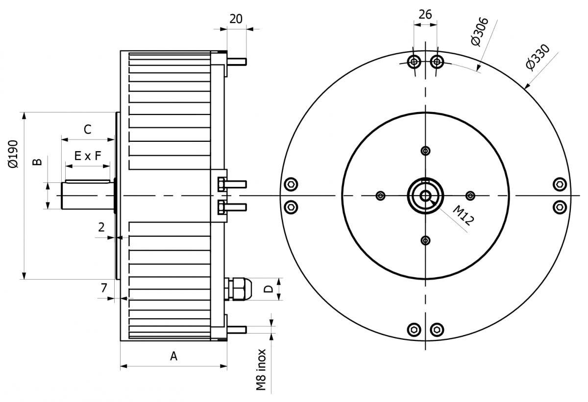 ACM35 - dimensioni Motore per ventilazione zootecnica ed ind
